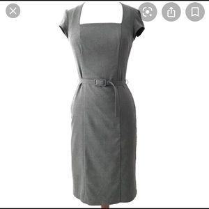 H&M Square neck grey  midi sheath dress